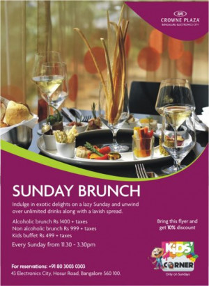 ... Sunday and unwind over unlimited drinks along with a lavish spread