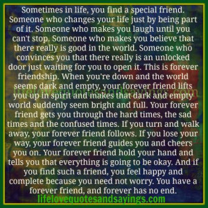 Sometimes in life , you find a special friend..