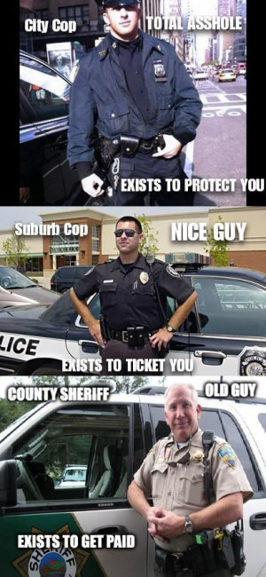 City Cop TOTAL ASSHOLE EXISTS TO PROTECT YOU Suburb Cop NICE GUY ...