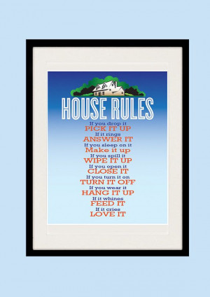 House Rules Kitchen art Inspirational quote by EclecticPrintShop, $21 ...