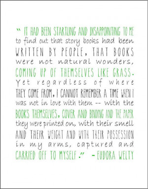 Eudora Welty literary quote typography print on love for books and ...
