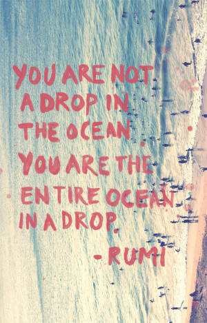 ... are not a drop in the ocean. You are the entire ocean in a drop
