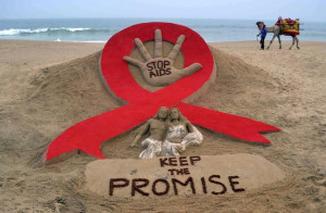 ... AIDS ahead of World AIDS Day on a beach in Puri, November 29, 2013