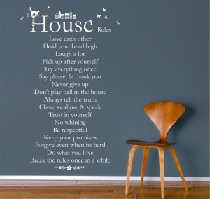 House Rules Quote Vinyl Wall Art Sticker Decal Mural