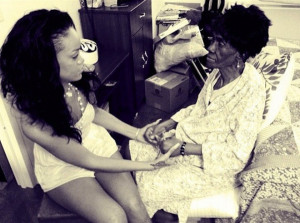Rihanna with Grandmother Dolly (black and white photo)