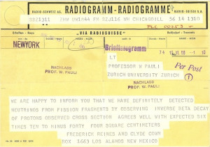 Telegram from Clyde Cowan and Frederick Reines to Wolfgang Pauli ...
