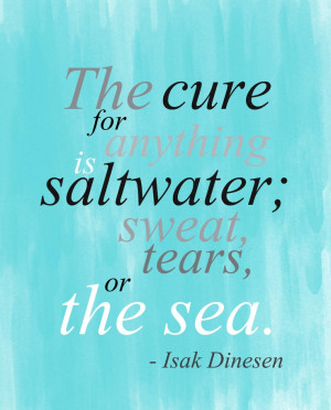 Saltwater: sweat, tears or the sea inspirational quote print.