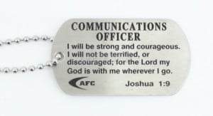 Communications Officer Dog Tag with Beaded Chain