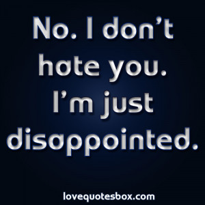 No. I don't hate you. I'm just disappointed.
