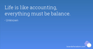 Life is like accounting, everything must be balance.