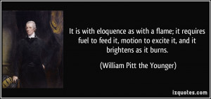 It is with eloquence as with a flame; it requires fuel to feed it ...