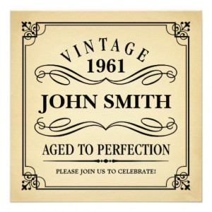 Vintage Aged to Perfection Funny Birthday Personalized Invites