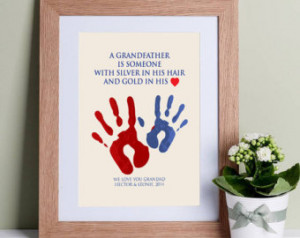 Grandfather Quote with Handprints - Wall Art Print. Great for gifts ...