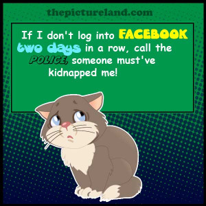 Cartoon Cat Picture With Funny Sayings About Facebook Login