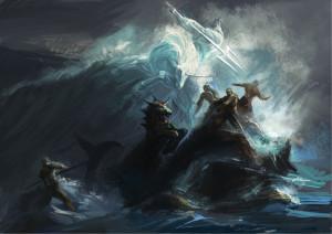Download wallpaper Art, battle, sea, Storm free desktop wallpaper in ...
