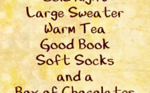 Cold Night Warm Sweater … Chocolates!