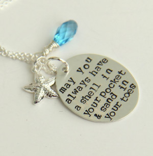 Sterling Silver Beach Necklace, May You Always, Wedding Beach Quote ...