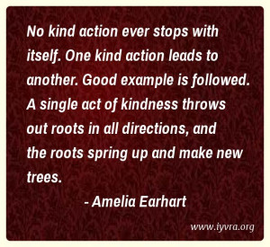 No kind action ever stops with itself. One kind action leads to ...