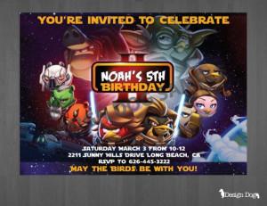 Angry Bird Star Wars Birthday Invitations