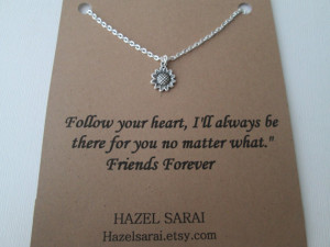 Tiny Sunflower, Friends Necklace- Friendship Quote Card