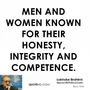 men and women known for their honesty, integrity and competence.
