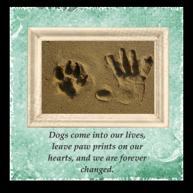 Paw prints on the Heart Dog Sympathy Card