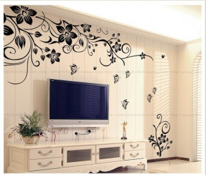 Flower Butterfly 2 Stickers Removable Diy Vinyl Quote Wall Sticker ...