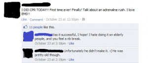 Funny photos funny CPR medic Facebook comment