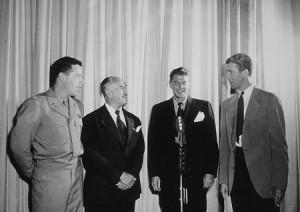 ... Meyers (L), Lt. Col. Jack Warner and Col. James Stewart (R) C. 1942