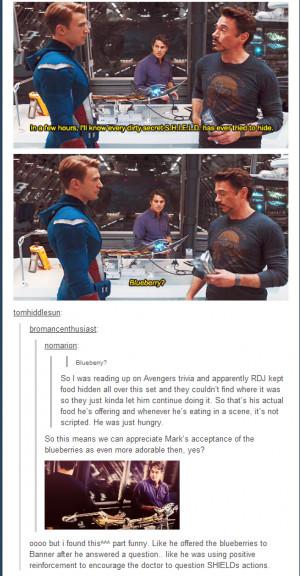 Robert Downey Jr. On The Set Of Avengers Eating His Blueberries