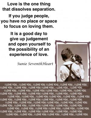 Love dissolves separation