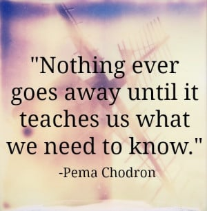 14. Nothing ever goes away until it teaches us what we need to know.