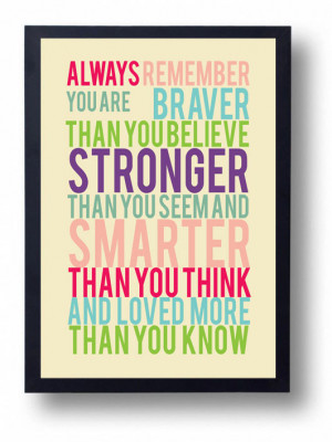 Winnie the Pooh Quote-You Are Braver than You Believe-Inspirational ...