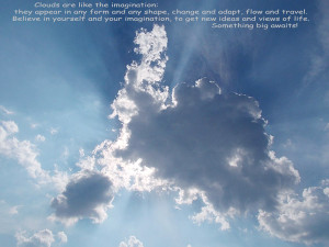 ... clouds over a blue sky: thin, white, transparent and regular in shape