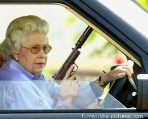 Funny Queen Elizabeth Gun NRA National Rifle Association joke picture