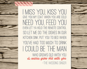 wanna grow old with you wedding s inger quote poster print adam ...