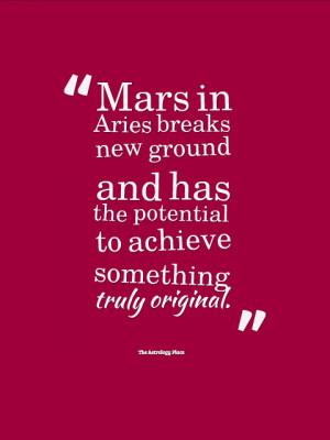 Mars In Aries Breaks New Ground