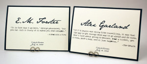 Literary Quote – Book Themed Wedding Table Numbers