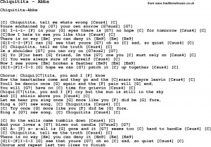 Song Chiquitita by Abba, with lyrics for vocal performance and ...