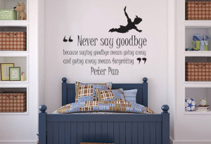 Peter Pan 'Never Say Goodbye' Quote Wall Sticker Vinyl, Home Decor ...