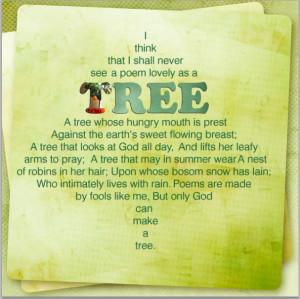 joyce kilmer poem trees and a poem by joyce kilmer trees by joyce ...