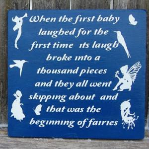 Beginning of Fairies Painted Wood Sign Nursery Room Art Reclaimed