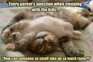 Funny Quote About Kids : How Can Someone So Small Take Up So Much Room ...