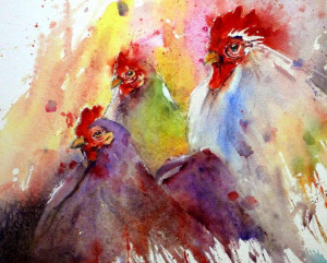 Gerard Hendriks Internet Site Art Watercolors Hendrik Chickens