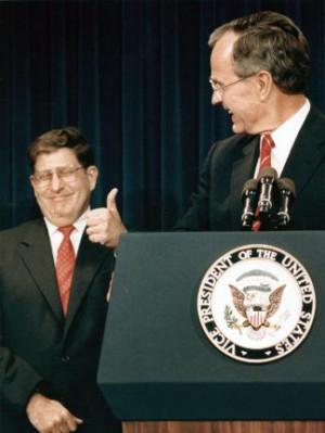 elect George Bush turns to smile at New Hampshire Governor John Sununu ...
