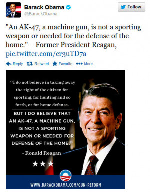 Obama Quotes Reagan On Gun Control