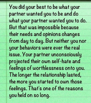 Narcissistic sociopath relationship abuse and self hate.