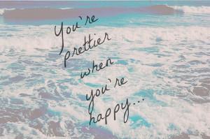 happy, ocean, pretty, quote