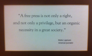 Quote by journalist Walter Lippmann – Found hanging on a wall at the ...