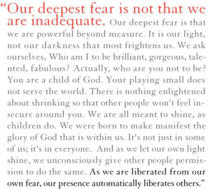 An inspired writing by Marianne Williamson